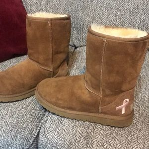 Ugg Classic Short Breast Cancer Awareness Chestnut
